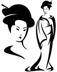 geisha black and white design