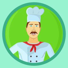 Color sticker of restaurant chef