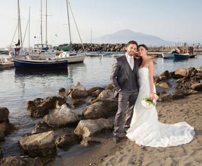 Married couple near the sea
