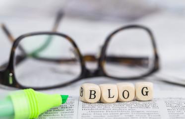 Blog in Holzbuchstaben