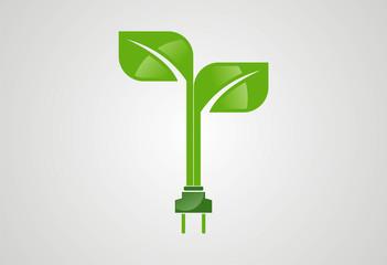green eco electric plug logo vector