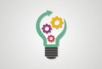 Growth idea gear logo vector