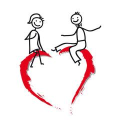 Verliebtes Paar beim Flirten - rotes Herz