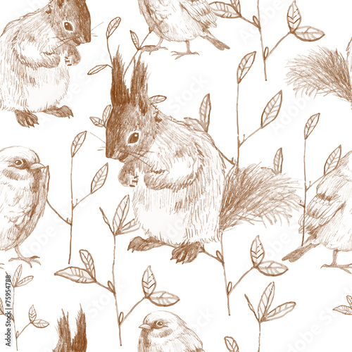pencil sketch seamless pattern with branches and squirrels - 75954788