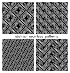 Set Of Abstract Quilling Seamless Patterns