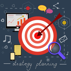 strategy planning icons with bright pictures