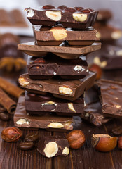 Chocolate pieces in a pile