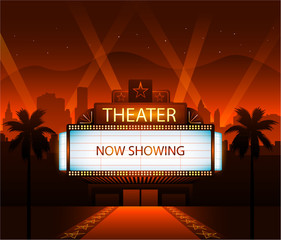 Now showing theater movie banner sign