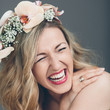 Candid portrait of a laughing bride