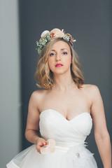 Elegant sophisticated young bride