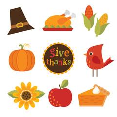 cute thanksgiving autumn fall design elements