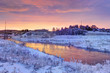 Winter dawn in the Moscow region. Frost
