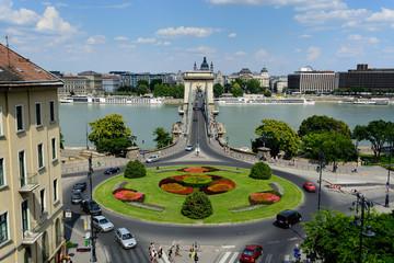 Chain bridge over Danube river in Budapest
