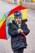 canvas print picture - Kind mit Regenschirm