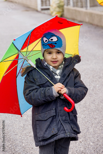 canvas print picture Kind mit Regenschirm