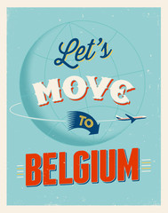 Vintage vacations poster - Let's move to Belgium.
