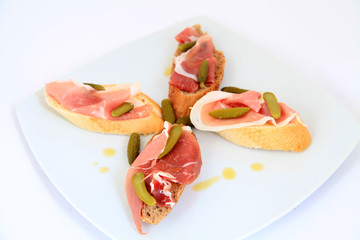 Jamon. Serrano ham, prosciutto served on bread. Tapas food