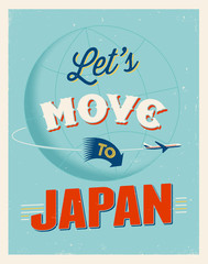 Vintage vacations poster - Let's move to Japan.