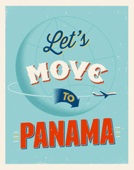 Vintage vacations poster - Let's move to Panama.