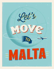 Vintage vacations poster - Let's move to Malta.