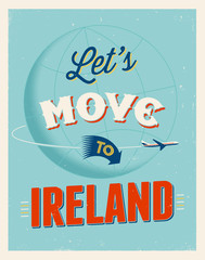 Vintage vacations poster - Let's move to Ireland.