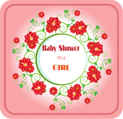 Baby shower - its a girl, red flowers
