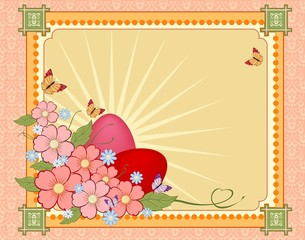 Beautiful Easter background with flowers and place for text