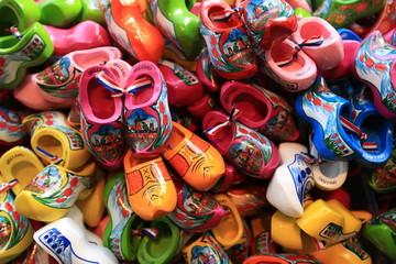 Dutch Souvenirs, a bunch of colored wooden shoes