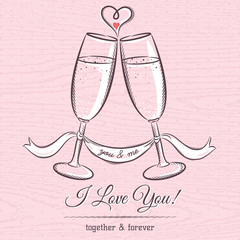 romantic card with two glass of champagne and wishes text