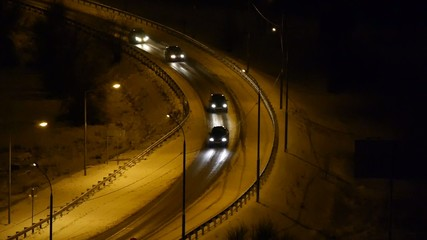 cars on the highway top view night