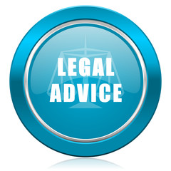 legal advice blue icon law sign