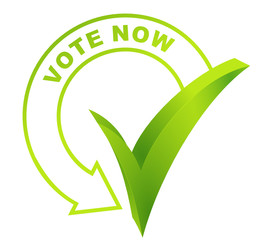 vote now symbol validated green