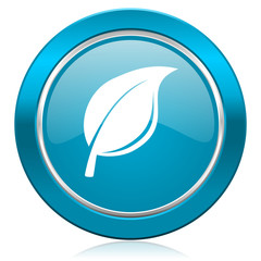 nature blue icon leaf sign