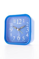 Blue clock isolated on white background