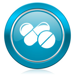 medicine blue icon drugs symbol pills sign