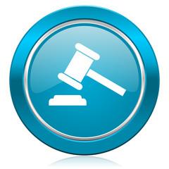 auction blue icon court sign verdict symbol