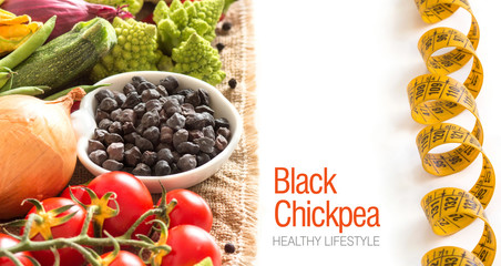 Black chickpea with vegetables