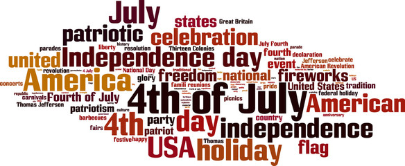 4th of July word cloud concept. Vector illustration