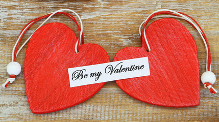 Be my Valentine card with two red hearts