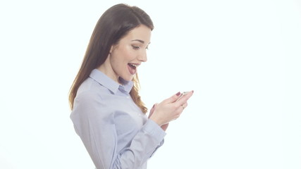 Woman holding phone happy reaction reading sms message