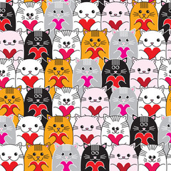 Cats with hearts in hands seamless vector pattern