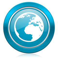 earth blue icon world sign