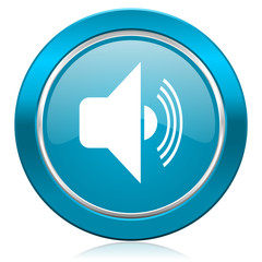 volume blue icon music sign