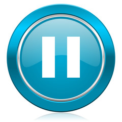 pause blue icon
