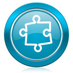 puzzle blue icon