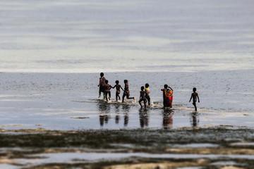 children on water