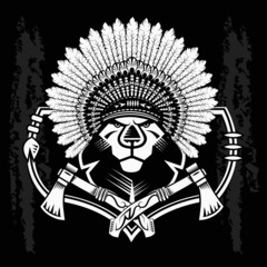 Lion Head Graphic on black and white background