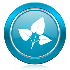 leaf blue icon nature sign