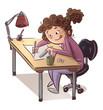 Leinwandbild Motiv chica en mesa dibujando