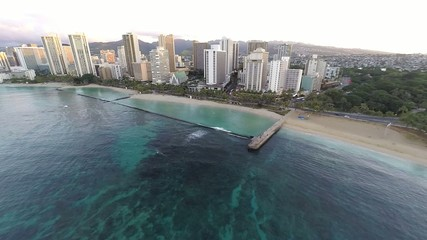 Aerial of Waikiki Beach and hotels in Waikiki, Hawaii, USA